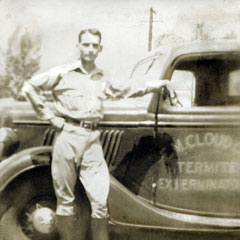 1934<br />Gene Cloud, Sr. starts the first Cloud family pest control business