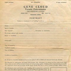 1950's<br /> Termite control contract. Look at the 5-digit telephone phone number!